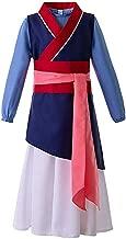 DONTAL Women Three-Piece Princess Movie Dress Cosplay Costume Kimono Heroine Mulan Costume