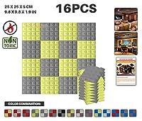 エースパンチ 新しい 16ピースセット グレーと黄 250 x 250 x 50 mm ピラミッド 東京防音 ポリウレタン 吸音材 アコースティックフォーム AP1034