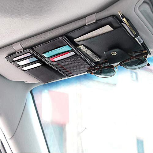 EcoNour Car Sun Visor Organizer- PU Leather- Auto Interior Accessories- Pocket Organizer Insurance and Registration Wallet Storage Pouch for Cars- Cards, Pens, Sunglasses and Document Holder