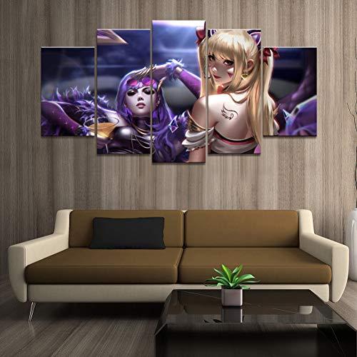 ADGUH Leinwanddrucke Wohnkultur Poster HD Bilder Drucke Leinwand 5 Stück Game Roles Ahri Spiel Wohnzimmer Dekorative Malerei