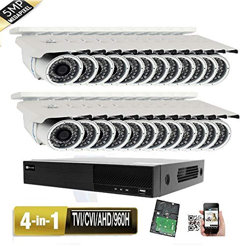 Save %18 on Amview 32CH 6MP All-in-1 TVI AHD CVI 960H DVR (24) 5MP 4-in-1 Indoor Outdoor CCTV Securi...