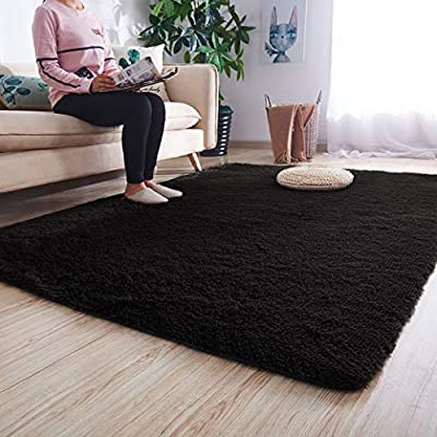 Noahas Luxury Fluffy Rugs Ultra Soft Shag Rug for Bedroom Living Room Kids Room, Child and Girls Shaggy Furry Floor Carpet Nursery Rugs Modern Indoor Home Decorative, 5.3 ft x 7.5 ft, Black
