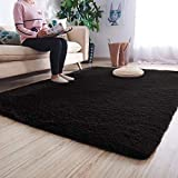 Noahas Luxury Fluffy Rugs Ultra Soft Shag Rug for Bedroom Living Room Kids Room, Child and Girls Shaggy Furry Floor Carpet Nursery Rugs Modern Indoor Home Decorative, 4 ft x 5.3 ft, Black