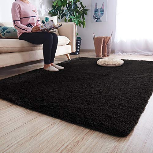 Noahas Ultra Soft Shaggy Area Rugs Fluffy Living Room Carpet Bedroom Fur Rug Anti-Skid Child Playing Mat Home Decor, 5.3 x 7.5 Feets Black