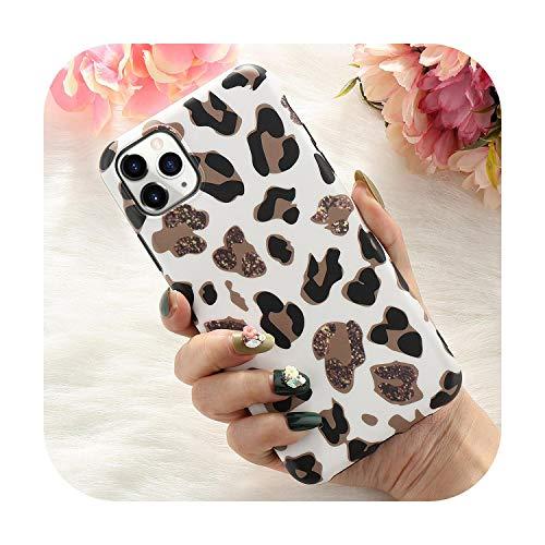Para Iphone 11 Pro Max X Xr Xs 7 8 Plus 6 6S Se 2020 Delgado Caucho Suave Cubierta Trasera Del Teléfono De Leopardo Caso -Blanco-Para Iphone 8 Plus