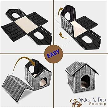Maison Cabane Niche pour Chat Exterieur ou interieur Materiau impermeable + Couchage interieur Doux et Confortable Démontable Pliable Facile à Entretenir 50cmX42cmX42cm pour chat lapin chiot chien.
