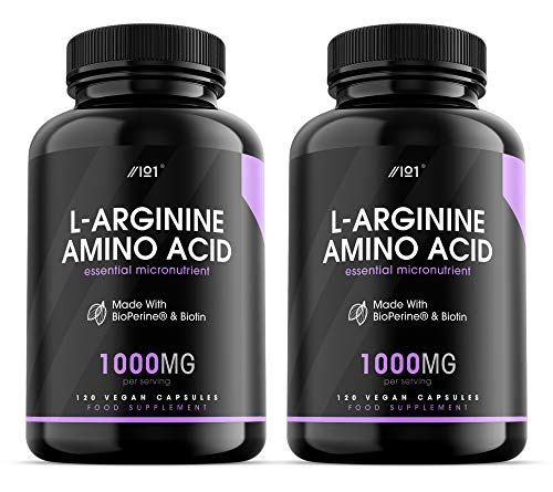 L-Arginine with BioPerine & Biotin Capsules - 1000mg - Potent Amino Acids - Non-GMO, Gluten Free, 120 Vegan Capsules (2 Pack)