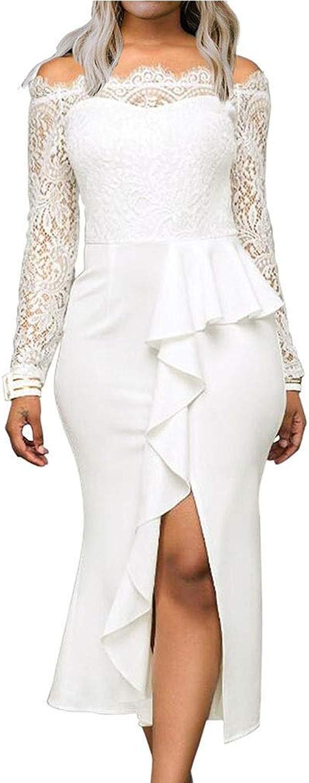NEOART Women Sexy Long Lace Sleeve Dress Off Shoulder Bodycon Split Midi Dress