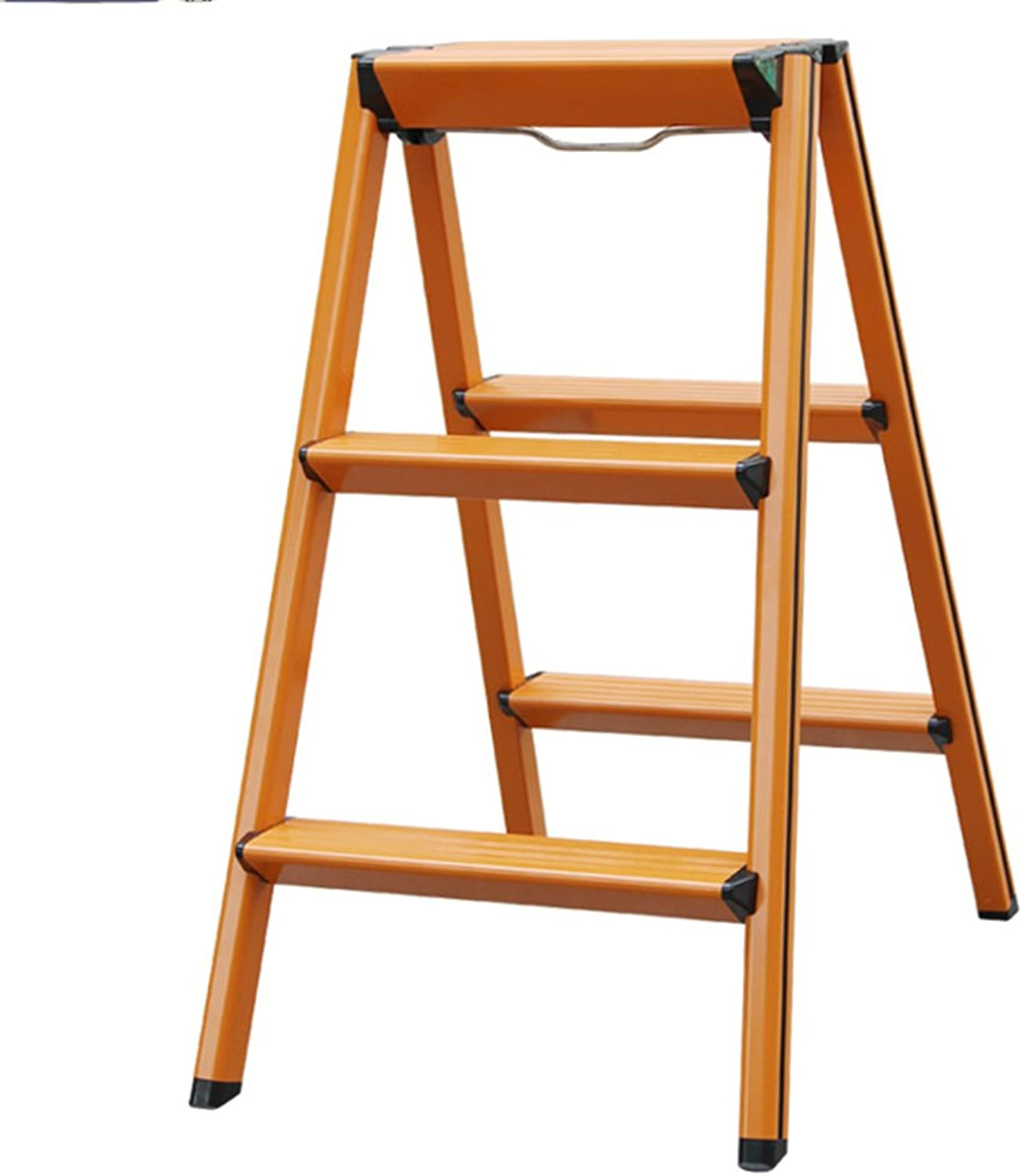 Foldable 3 Step Ladder Stool Multifunction Portable Dual-use Thicken Non-slip Aluminum Alloy 3 colors Height 70cm (color   orange)