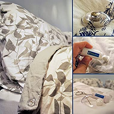 PinionPins Magnetic Duvet Clips 16 Count (Clear Pins) - Perfect Duvet Fasteners, Comforter Clips, Duvet Donuts, Corner Keepers (16 Pins enough for 4 beds)