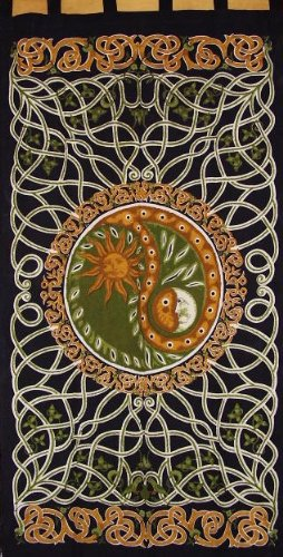 Celtic Yin Yang Tab Top Curtain-Door Panel-Amber/Green