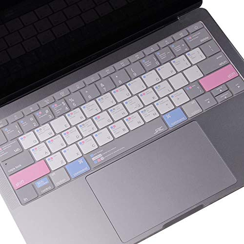 Premium Shortcut Keys Keyboard Cover Compatible with MacBook Air 13 inch(A1466/A1369) and MacBook Pro 13/15/17 inch(with or w/Out Retina,2015 or Older Version) with Mac OS Hot Keys, US Version