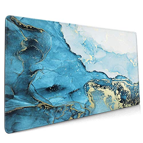 Blue Marble Extended Gaming Mouse Pad Non-Slip Rubber Base White Large Mousepad 35.4×15.7in with Stitched Edge Waterproof Gold Thick Keyboard Pads Computer Desk Laptop Mats for Work & Game & Office