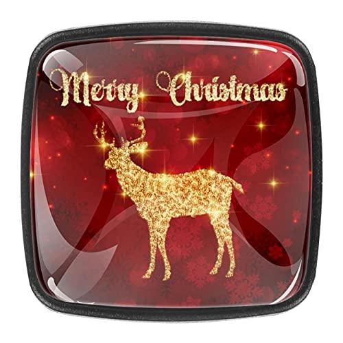 Perillas de cristal con fondo rojo de ciervos de Navidad para cajones de aparador, pomos de armario, oficina, dormitorio, sala de estar y baño (juego de 4)