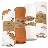Muslin Swaddle Blanket Oliver & Rain, Newborn Baby Boy, Kangaroo, Sunset Print-Brown 4 Pack