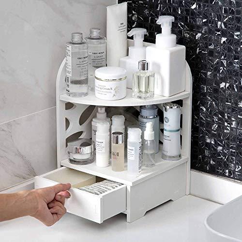 DOROCH Organizador de baño Estante de Madera Estructura de Almacenamiento de Escritorio con cajón Maquillaje Organizador Ducha Caddy Corner Shlves Stand
