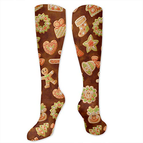 NA - Calcetines de compresión para mujer, diseño de galleta de jengibre
