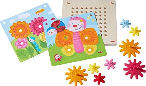 Haba 303871 Tandwielspel voor dieren in de tuin, motorisch speelgoed met 4 verschillende achtergrondafbeeldingen en kleurrijke tandwielen om in elkaar te steken, speelgoed vanaf 2 jaar