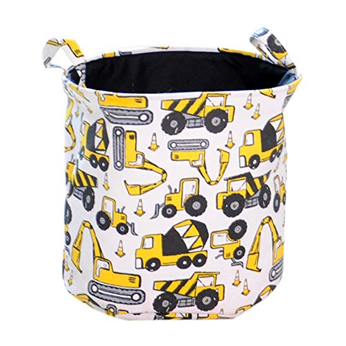 Neaer Storage Baskets Cartoon Cars Printed Storage Basket For Toys Fabric Clothes Organizer Folding Large Laundry Basket For Dirty Clothes Laundry bag (Color : Yellow, Size : M)