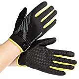 CUGBO Men Women Ice Silk Thin Workout Gloves, Full Finger Fitness Training Gym Gloves Non-Slip Breathable Mountain Bicycling Mittens for Weight Lifting, Exercise, Outdoor Sports(Green)