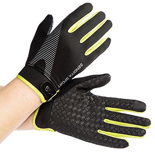 Stonges Sommer Männer und Frauen Ice Silk Dünne Fitnesstraining Voll Finger Handschuhe Bergsteigen Outdoor rutschfeste Sport Atmungsaktive Reithandschuhe Grün (grün)