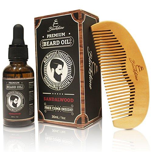 Blackstone Naturals Sandalwood Beard Oil Kit - All Natural Beard and Mustache Conditioner 30mL- Argan Oil, Jojoba Oil, Vitamin E Oil, Chamomile Oil and Sandalwood Oil