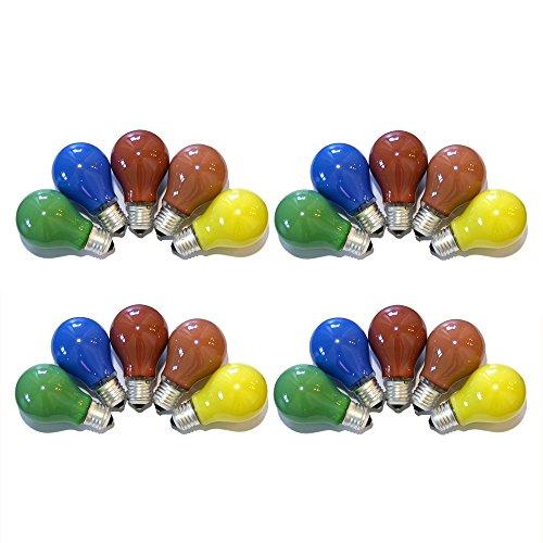 20er Set Glühbirnen farbig gemischt 25W E27 Rot Gelb Grün Blau Orange für Außen & Innen - Party & Biergarten