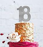 LissieLou, decorazione torta per diciottesimo compleanno, numero 18, grande Silver