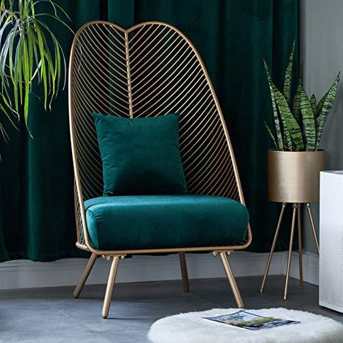 Stoel LKU Lichte luxe stof smeedijzeren net rood enkele kleine bank eenvoudige woonkamer slaapkamer balkon vrije tijd, 4
