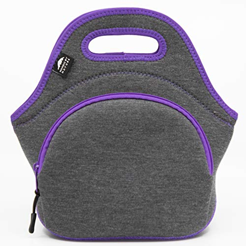 Nordic By Nature Large Neoprene Lunch Bag for Women & Lunch tote for Kids Insulated Lunch bag Reusable Washable Extra Thick Neoprene & Soft Cotton Feel, Premium Stitching, Outside Pocket, (L) Purple