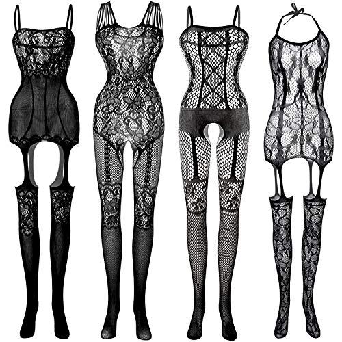 FEPITO 4 Set Damen Strümpfe Dessous Spitze Netz Netz Bodysuits für Dessous Party Date Wearing
