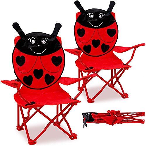 Deuba 2X Chaises Pliables pour Enfant Motif Coccinelle Couleur Rouge/Noir Jardin Camping Plage