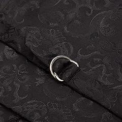 Steampunk Vintage Black Jacquard Button Down Vest Jacket Slim Fit Work Waistcoat Black S #5
