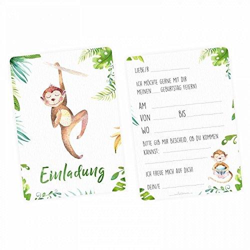 nikima Schönes für Kinder - 5 Einladungskarten Affe Dschungel Grün inkl. 5 Transparenten Briefumschlägen Kinder Geburtstag Mädchen Junge Einladung Feier Aquarell
