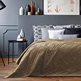 AmeliaHome Velvet Tagesdecke, Polyester, Laila Cappuccino, 260x280 cm
