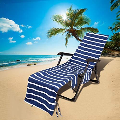 Rayé Housse de Chaise Longue de Plage, Microfibre Serviettes de plage, Portable Housses de Chaise Longue Bain de Soleil avec Sac de rangement, pour piscine, hôtel, vacances, 75x215cm (bleu marin)