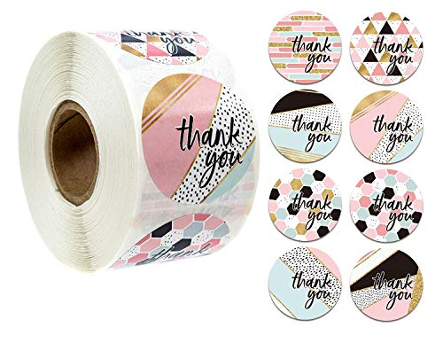 1000pcs 8 Different Design Thank You Stickers 1'' Round Adhesive Labels,500 Per Roll,Decorative Sealing Stickers for Christmas Gifts, Wedding, Party (A-31 8 Different Design)