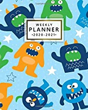 Weekly Planner 2020-2021: 2 Year Weekly & Daily View Organizer, Diary & Agenda with To-Do's, Funny Holidays & Inspirational Quotes, Vision Boards & Notes | Pretty Cartoon Monster & Star Pattern