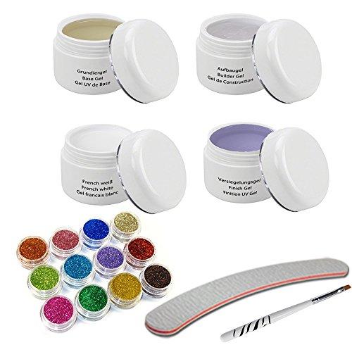 Kit de gel UV 4 x 30ml avec pinceau à gel, Poudre à paillettes Set, Limes à ongles banane