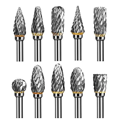 PlusRoc Double Cut Tungsten Carbide Rotary Burr Set, 10 Pcs 1/8