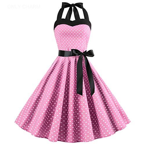 ONLY CHARM Damen Neckholder Kleider, Elegant Vintage Retro Cocktailkleid 1950er Rockabilly Petticoat Faltenrock Festliche Kleider, Rosa,XXL