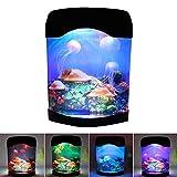 Little ants Mini Aquarium USB LED Lampe Méduse, Veilleuse Ocean LED,Aquarium LED d'éclairage,Cadeaux créatifs pour Enfant et...