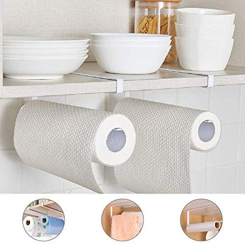 TANCUDER – Dispensador de toallero de Papel para Debajo del Armario, sin Agujeros, para Cocina, Cuarto de baño, Colgador de Toallas de Papel, Colgador sobre la Puerta