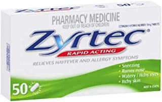 Zyrtec Hayfever Allergy Relief Tablets, 50 count, Pack of 50
