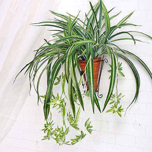 KFZR - Pianta artificiale di ragno, clorophytum Comosum, in seta, 5 rami, 35 foglie, 12 fiori, 60 cm di lunghezza, senza cesto appeso Pianta di ragno