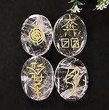 Clear Quartz Crystal Reiki Stones with Engraved Symbols for Usui Reiki Healing, Set of 4 Pcs (Indian Handmade Reiki Gift Set)