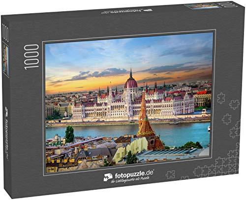 Puzzle 1000 Teile Strahlender Sonnenuntergang über berühmten Sehenswürdigkeiten in Budapest - Klassische Puzzle mit edler Motiv-Schachtel, Fotopuzzle-Kollektion 'Ungarn'
