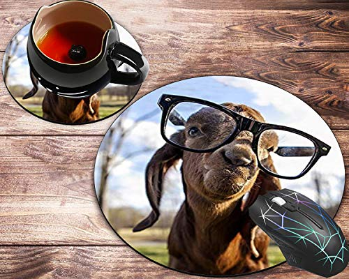 Round Mouse Pad and Coaster Set, Cute Goat Mousepad, Non-Slip Rubber Base Gaming Mouse Pads for Working Or Game