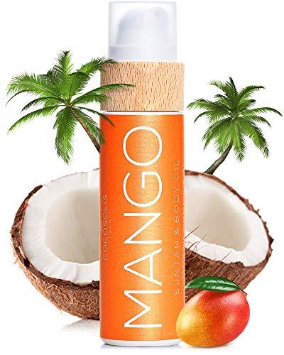 COCOSOLIS Mango - Huile bronzante, huile Bio pour un bronzage naturel - Crème pour un bronzage chocolat - Six huiles naturelles pour une peau éclatante, parfum frais de mangue - 110 ml