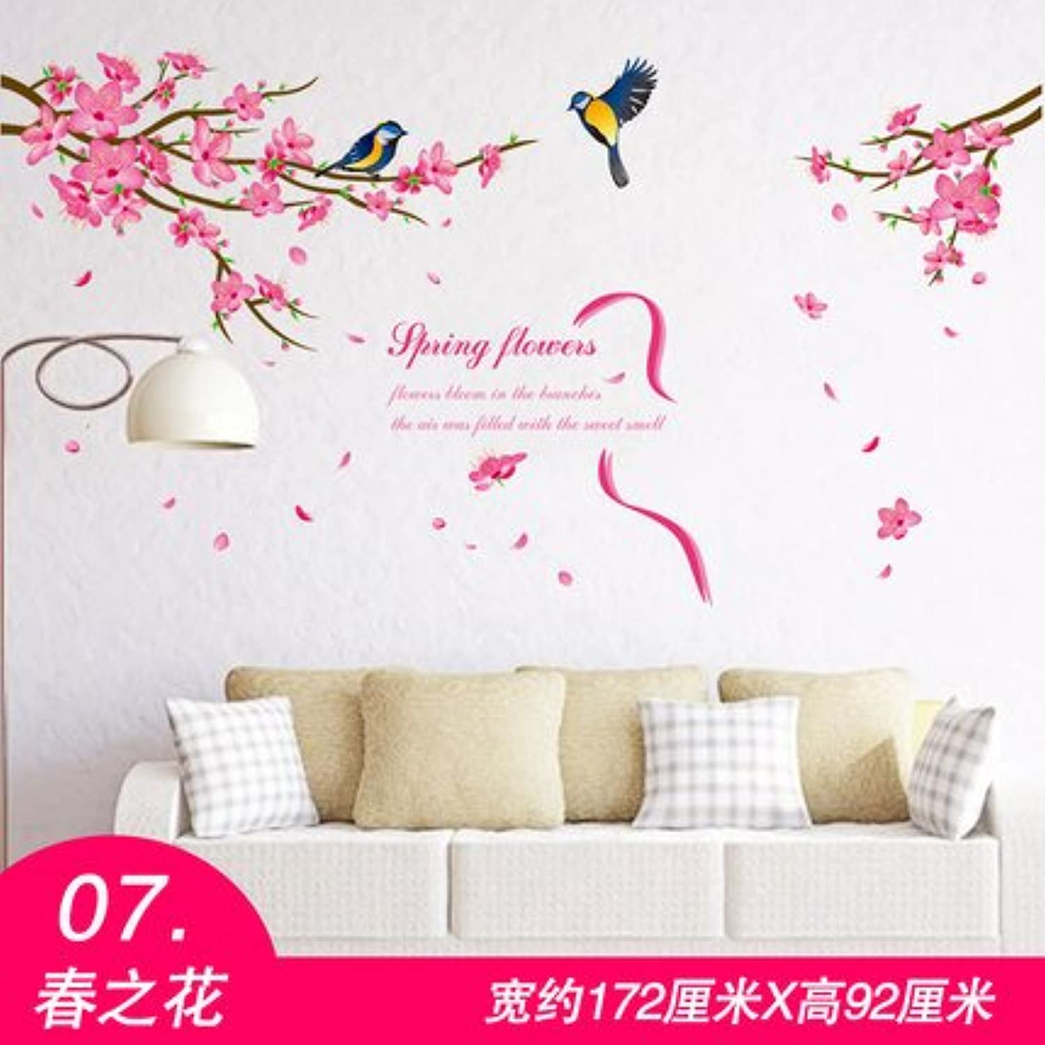 Znzbzt Wall Sticker Wall Decoration Mural Creative Background 3D ThreeDimensional Wallpaper selfAdhesive, 07 Spring Flowers, Large